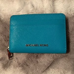 Michael Kors Tile Blue ZIP Wallet